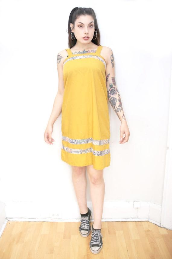 1970s Vintage - Mustard Patchwork Sundress