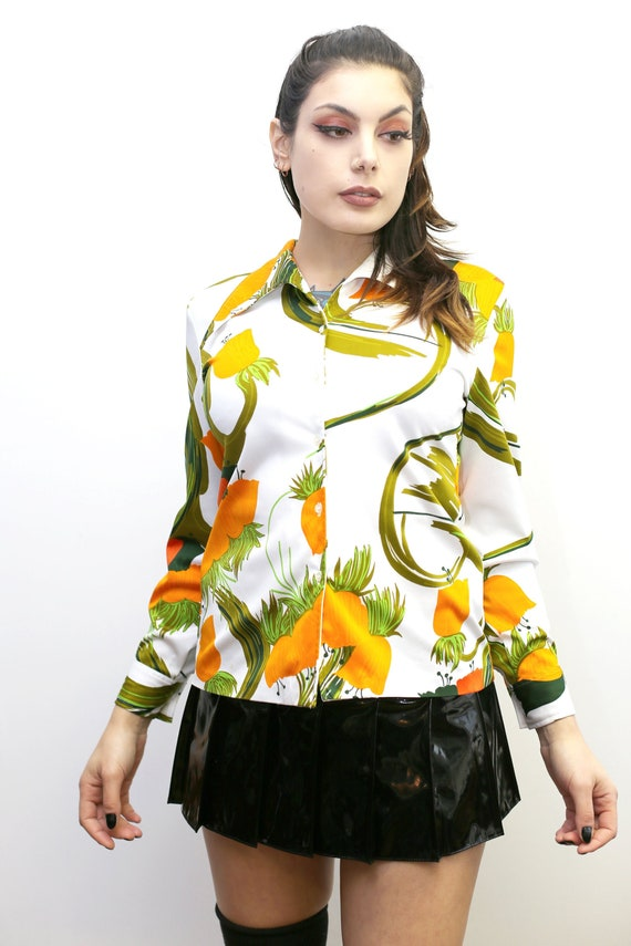 1970's Vintage - Floral Collared Button Up Shirt - image 2