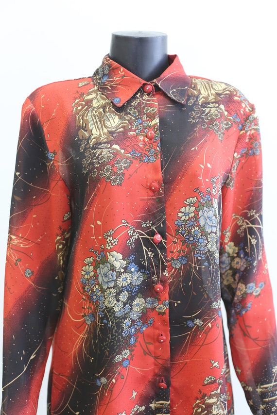1970s Vintage - Sheer Floral Button Up Blouse - image 5