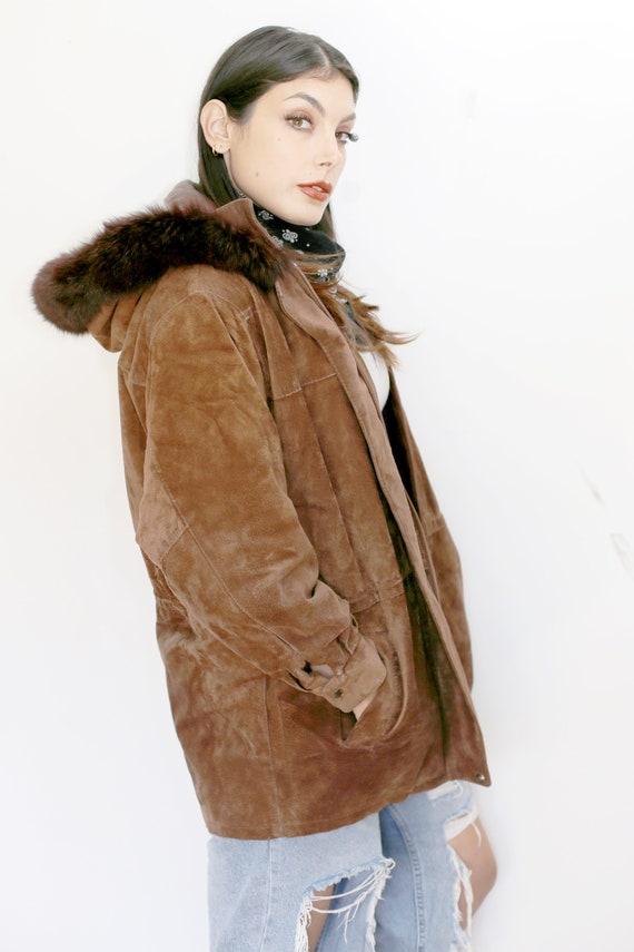 1980s Vintage - Fur Trimmed Suede Drawstring Parka