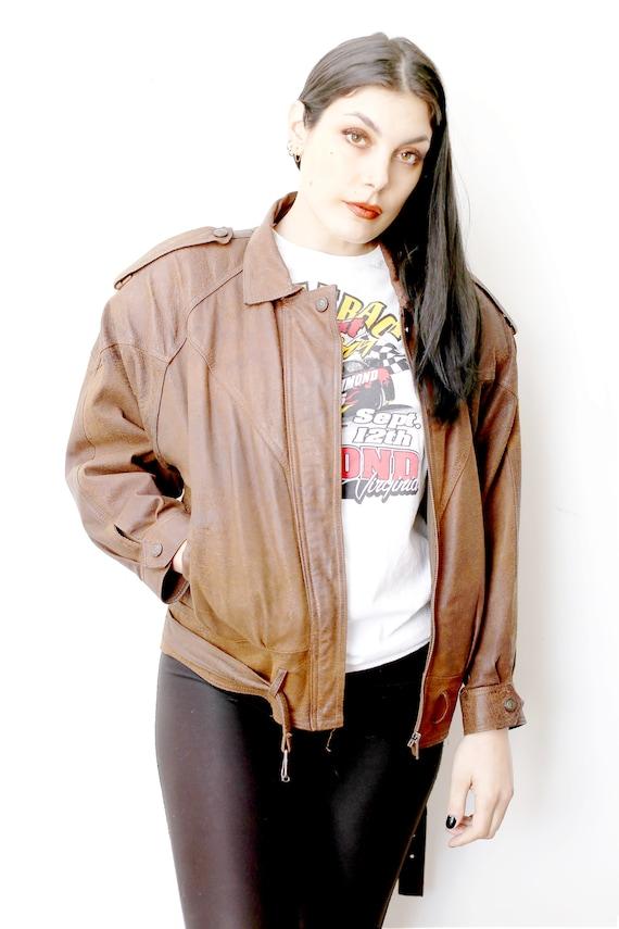 1980s Vintage - Chestnut Suede Bomber Jacket
