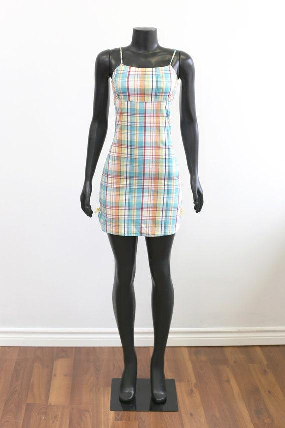 1990s Vintage - Pastel Plaid Mini Dress