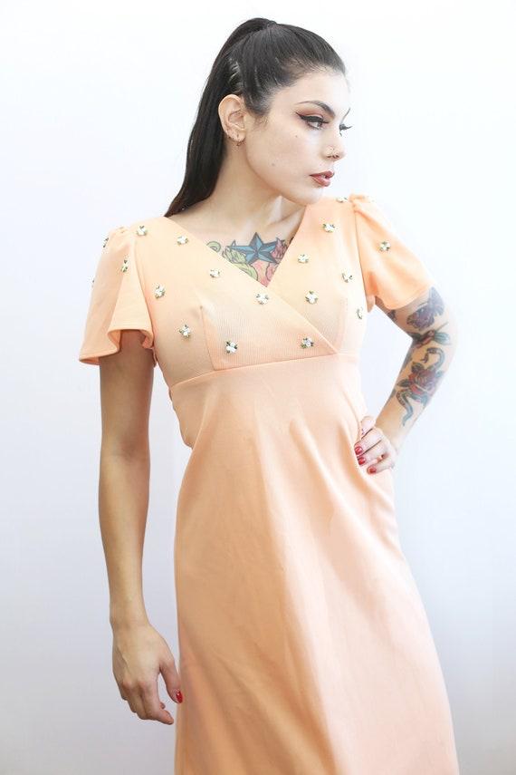 1970s Vintage - Floor Length Peach Flower Dress
