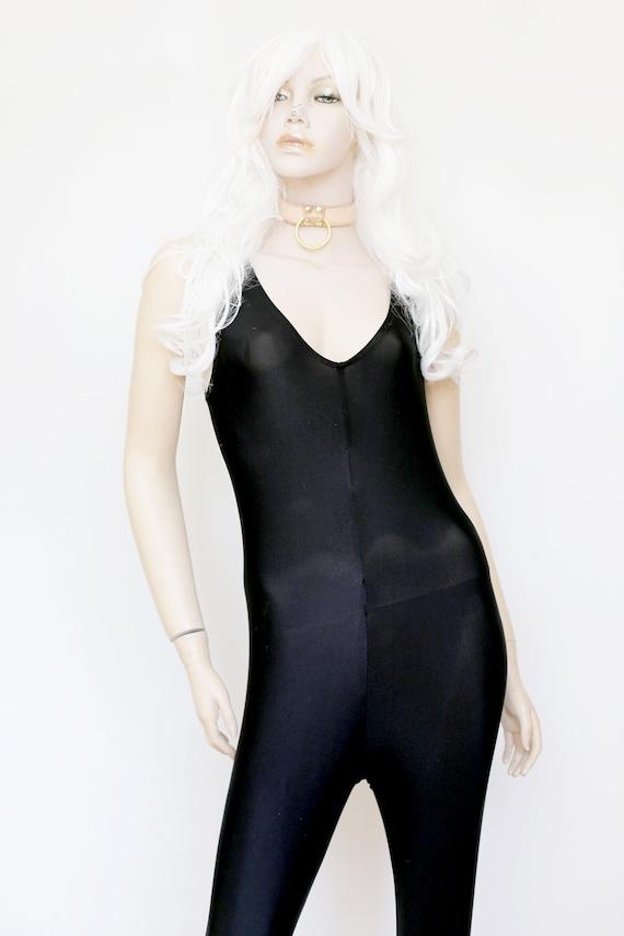 1990s Vintage - Black V-Neck Catsuit