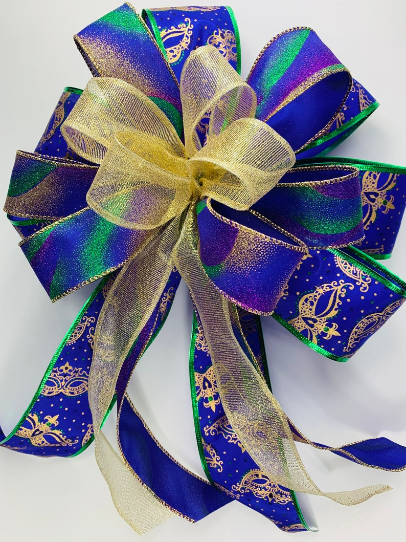 Package Bow Lantern Swag Bow For Porch Post Outdoor Mardi Gras Bow