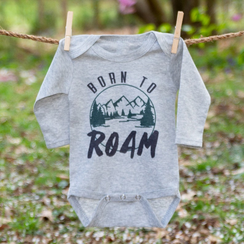 Nature Lover Baby Clothing Outdoor Theme Infant Boy Outfit Born to Roam Grey Long Sleeve body suit