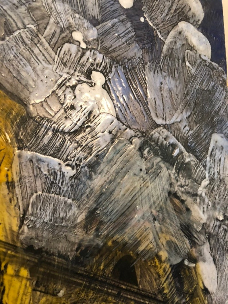 marigold Encaustic with Pine Needles and Wood