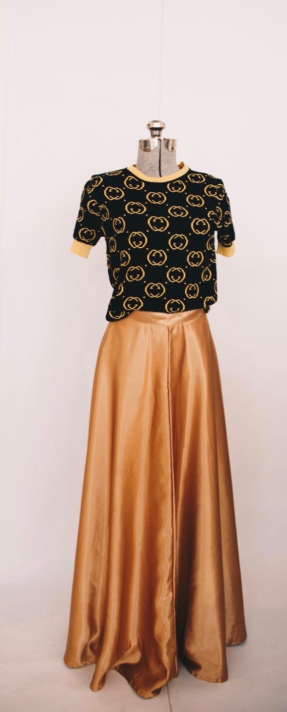 Vintage maxi gold satin skirt