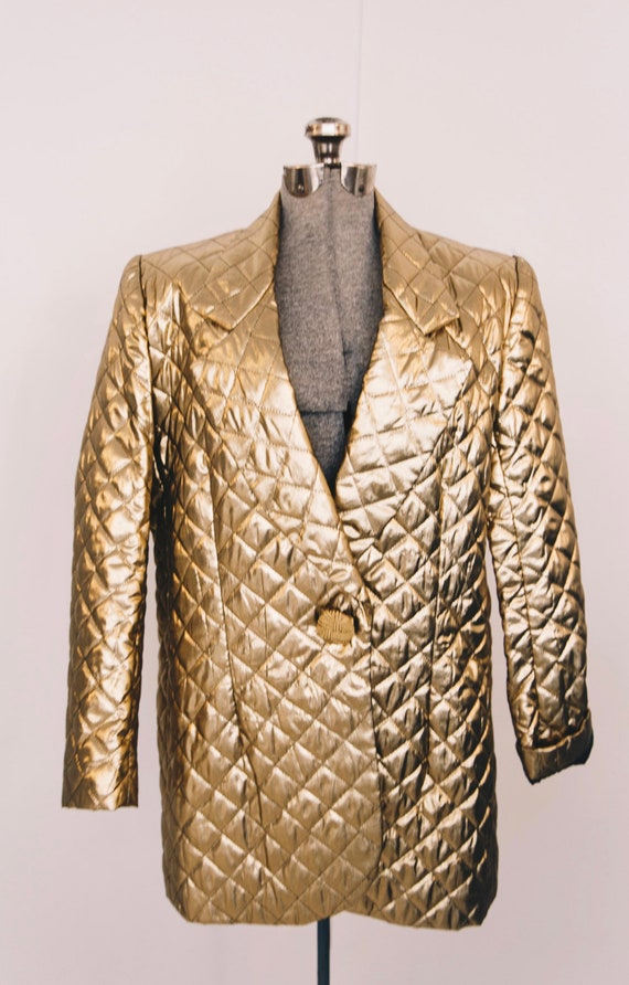 1980s gold quilted tuxedo blazer jacket