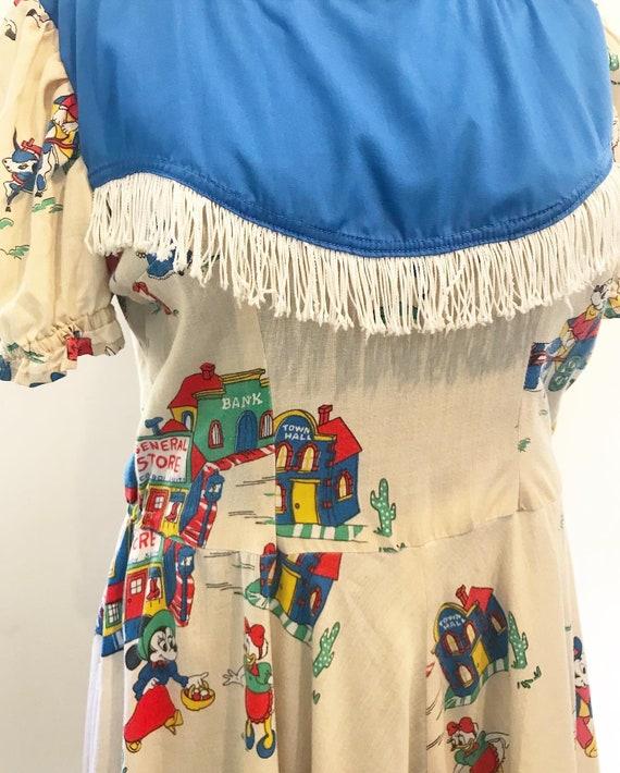 1950s handmade Disney cowboy print swing dress