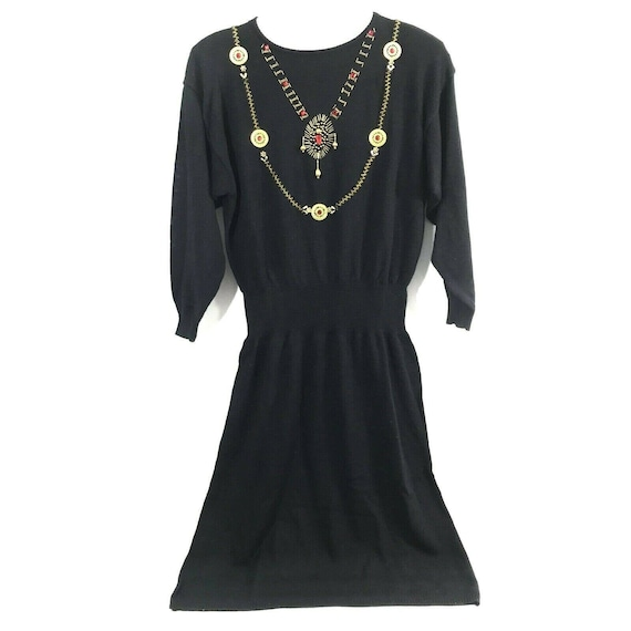 Vintage Maurada Black Sweater Dress Womens 2X Gold