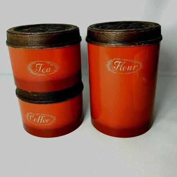 Vintage Burlington Orange Red 3 piece Metal Canister Set  Plastic Fruit Lids