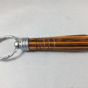 Secret Compartment Keychain Chrome and Laminated Wood