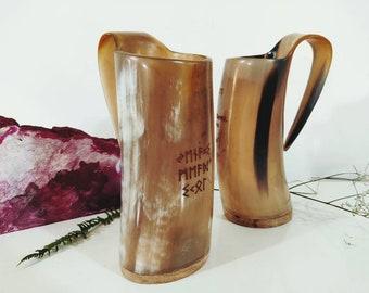 Ale Horn Mug//Tankard Personnalisé//Gravé Viking Drinking Horn Mug