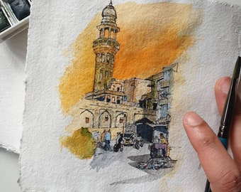 Walled City of Lahore, Pakistan | PRINT | Watercolour and Ink | A4 A5 Fine Art Print, Eid Gift, Street scene, Painting, Handmade, Wall Art