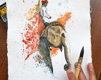 Man on Elephant I | ORIGINAL & PRINT | Watercolour and Ink | 21cm x 30cm Indian Cotton Rag Paper | Pakistan Indian Handmade, A3/A4 Wall Art