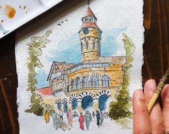 Crawford Market Mumbai India | Handmade Street Art | A4/A5 ORIGINAL & PRINT | Watercolour and Ink | A5 Indian Cotton Rag Paper | Gift Bombay