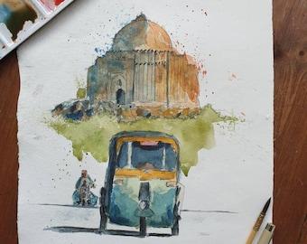 Lodhi Gardens, New Delhi, India | ORIGINAL & PRINT | Watercolour and Ink | 28cm x 38cm Indian Cotton Rag Paper | A3/A4 | Handmade, Wall Art