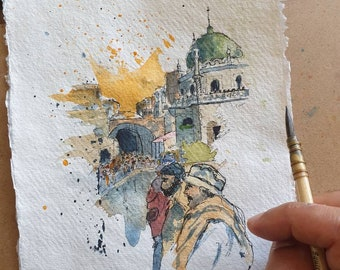 Walled City of Lahore, Pakistan | ORIGINAL & PRINT | Watercolour and Ink | 21.5x15cm Indian Cotton Rag Paper | A5 Fine Art Print, Eid Gift