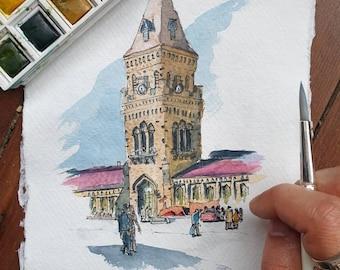 Empress Market Karachi, Pakistan | A3 A4 A5 PRINT Wall Art Gift, Bazaar, Handmade, Mughal, Street Scene, Pakistani Art | Watercolour and Ink