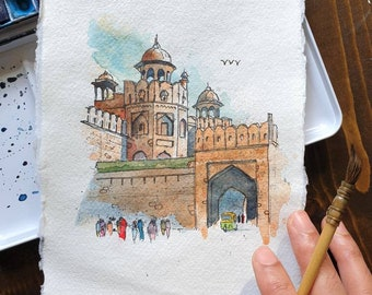 Lahore Gate at Red Fort, Delhi, India | Handmade Street Art | ORIGINAL & PRINT | Watercolour and Ink | A5 /A4 Wall Art, Eid Gift, Mughal
