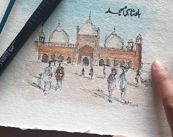 Badshahi Masjid, Lahore | Pakistani Art Mughal Mosque Unique Item | A5 PRINT | Watercolour and Ink | Wall Art, Islamic Art, Handmade
