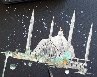 Faisal Masjid, Islamabad, Pakistan | ORIGINAL & PRINT | Metallic Watercolour and Ink |A3/A4 Paper | Paint Shimmers, Islamic, Wall Art