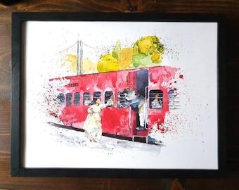 Bollywood 'Dilwale Dulhania le Jayenge' DDLJ Train Scene | A3/A4/A5 PRINT | Valentine's Gift Shahrukh Khan Kajol Indian | Watercolour & Ink