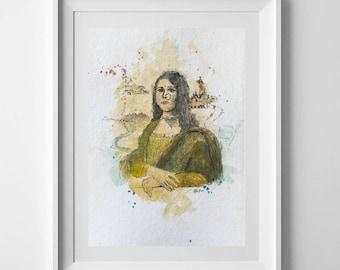 The Desi Mona Lisa | ORIGINAL and PRINT | Watercolour & Ink | A5 Size | Pakistani, Indian, Art Gift, South Asian Woman Portrait