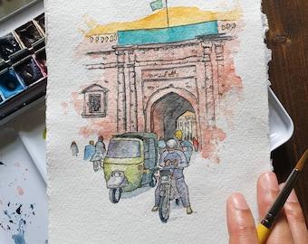 Delhi Gate, Lahore, Pakistan | Handmade Street Art | ORIGINAL & PRINT | Watercolour and Ink | A3 / A4 /A5 Wall Art, Eid Gift, Mughal