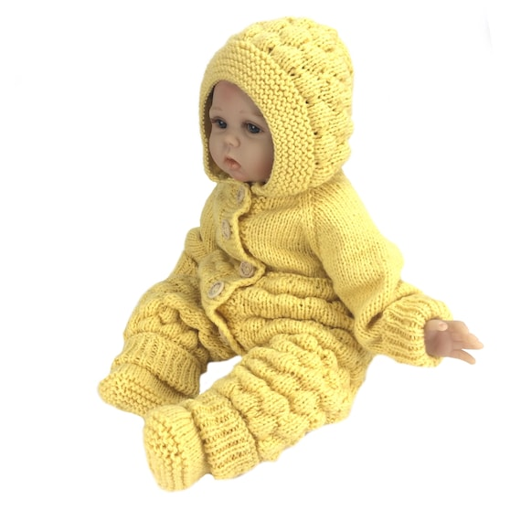made to order newborn knitted suit baby boy coming home outfit Baby bodysuit a hood