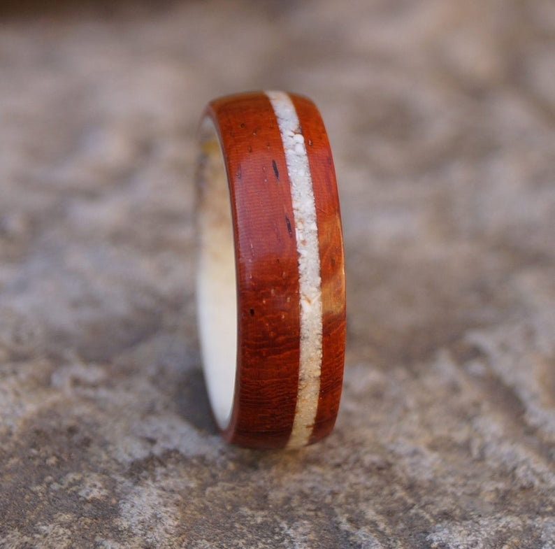 Padauk Wood Deer Antler and Shell Ring