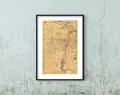 1892 Map of Illinois Central Railroad Company - Middle West Art Poster Old Reprint Ready to Frame