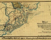 Old Map of Charleston Harbor with Morris Island and James, Broad, Folly, and Cole 39 s Islands Showing the position of the Union and Rebel