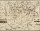 Old Map of the Baltimore and Ohio Rail Road with its branches and connections Publication Date 1878 Vintage Fine Art Reproduction