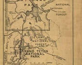Old Map of Boundaries of Yellowstone National Park as revised by act dated March 1, 1929 Vintage Fine Art Reproduction