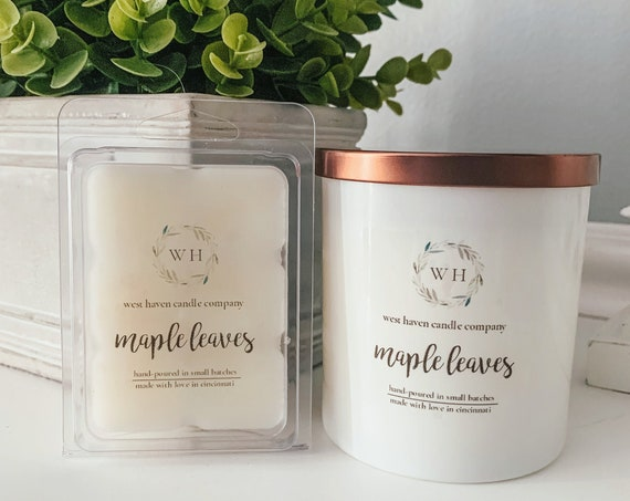 Maple Leaves Candle | Coconut Soy Wax | Wood Wick