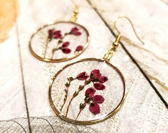 LETTARIUS Pressed Flower Teardrop Earrings Dried Natural Flower Dangle Earrings