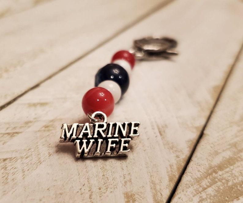 Handmade red white and blue marine wife keychain