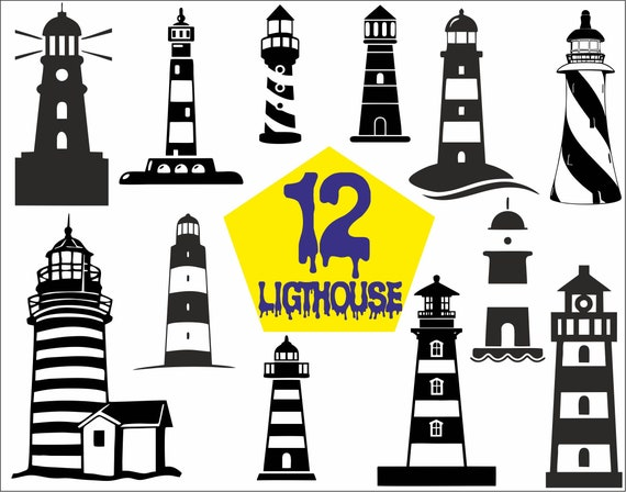 Nautical Svg Lighthouse Silhouette Layered Vector Clipart Lighthouse SVG Editable and Customizable Cuttable Sunset Birds Svg