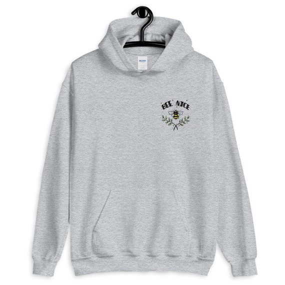 Bee Nice Logo Left Breast Printed Hoodie Quote Cute Kids and Adult Sizes