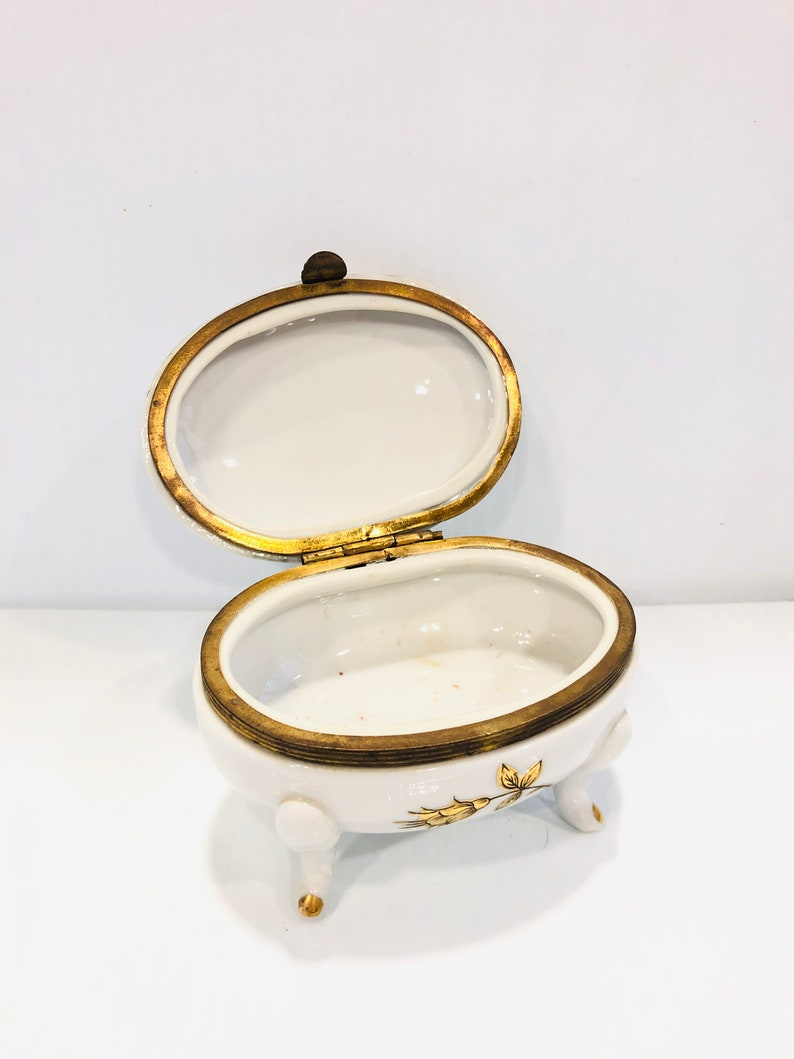 White with Gold Trim Trinket Box