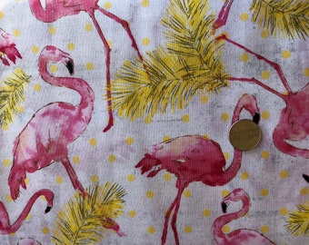 Pink Flamingo Cotton Fabric by the Yard