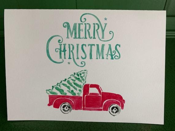 Christmas Truck handmade Christmas greeting Card with envelope