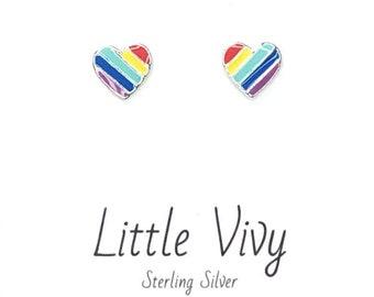 925 Sterling Silver Rainbow Heart Stud Earrings Womens Girls Jewellery Gift UK *