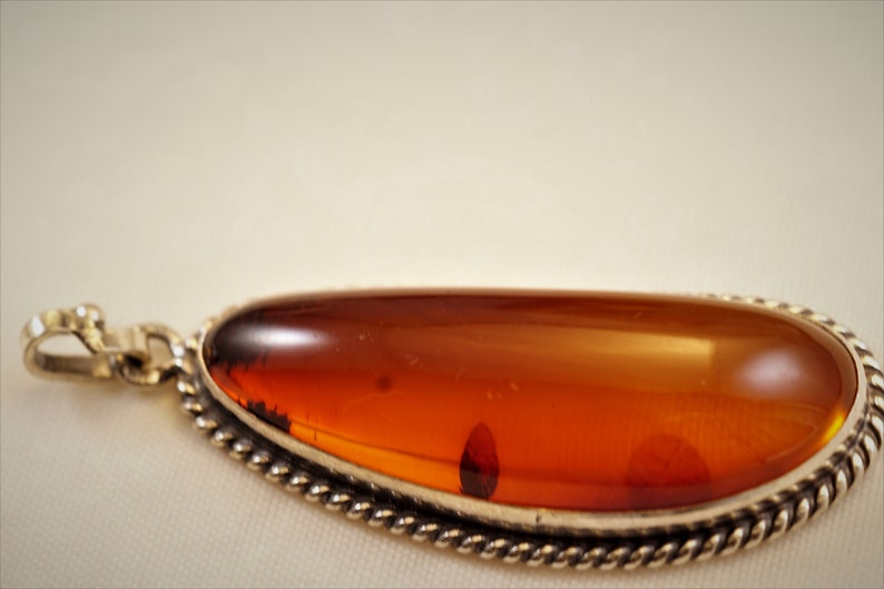 Cognac Color A-grade Baltic Sea Amber in Vintage Sterling Silver Handcrafted Pendant w Spiral Accents/_ Long Free Form Shape Natural