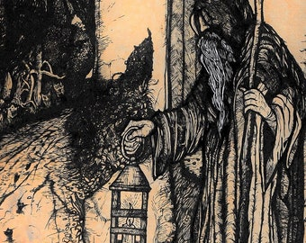 The Hermit and The Devil folklore and nature print
