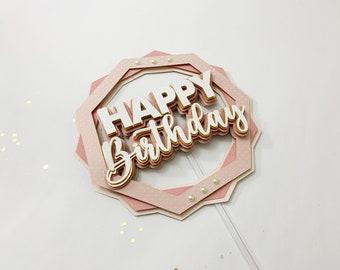 Cake topper SVG, Happy Birthday Cake Topper, Cutting files for Cricut Machine - Silhouette