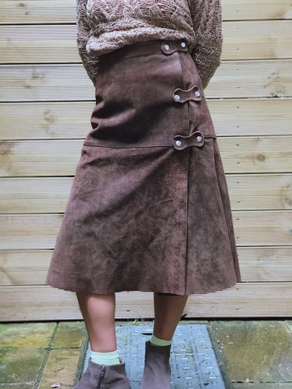1970s Original Suede Midi Skirt