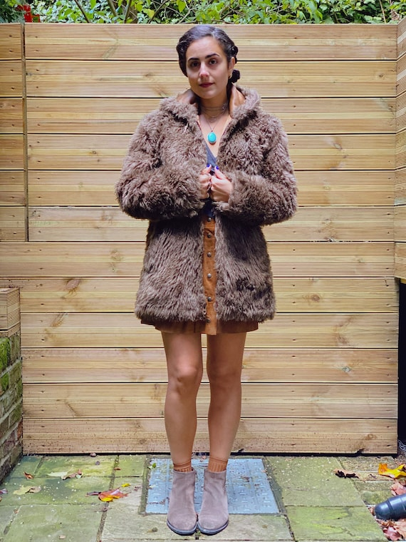 1970s Vintage Faux Fur Coat w/ Hoodie